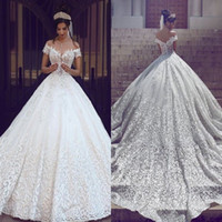 Wholesale sexy elegant wedding dresses for sale - Arabic Full Lace Wedding Dresses Elegant Off the Shoulder Short Sleeves Applique Sweep Train A Line Chapel Train Wedding Bridal Gowns BA3424