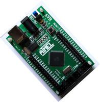 junta de desarrollo usb al por mayor-Envío gratis 1 unids AVR herramienta de Desarrollo Mínimo Sistema ATMEGA128 Junta de Desarrollo + Cable USB