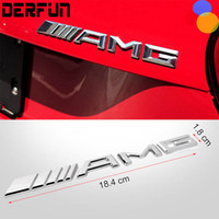 Wholesale Carbon Fiber Vinyl Wholesale - Car Logo 3D Chrome Metal AMG Badge Sticker For Mercedes Benz Trunk Rear Decal SL SLK Class CLK
