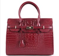 Wholesale Bright Blue Handbag - 35cm Fashion Women Handbags Good Quality Bright Cowhide Leather Women Bags Famous Brand Women Shoulder Alligator Bags Ladies Tote