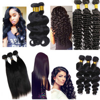 Wholesale Virgin Brazilian Mix Bundle - Brazilian Hair Bundles Virgin Human hair weave Straight wefts 8-34inch Unprocessed Peruvian Indian Malaysian Dyeable Hair Extensions