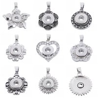 Wholesale Choice Metals - NOOSA Colors Metal 12mm Ginger Snap Button Pendants Necklace With Crystal Jewelry Interchangeable Jewerly 8 Styles For Choices E619L