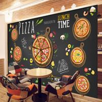 cozinha mural venda por atacado-Personalizado 3D papel de parede para paredes 3D Pizza Shop Wall Mural Café Pão Papel De Parede Restaurante sala de jantar Café Parede cobrindo Cozinha Decoração Do Quarto