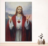 Wholesale Original Paintings Impressionist Landscapes - Large sizes Wall Art Wall Decor Jesus Christ Custom Portrait original oil Painting Print for wall picture no frame