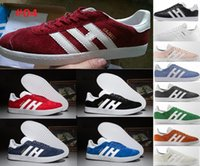 Wholesale Mens Shoes Purple Color - 26 color new arrival Top Quality 2017 Mens Women Casual Suede Gazelle og Black Grey Red pink Lightweight Walking racer Shoes US5.5-10