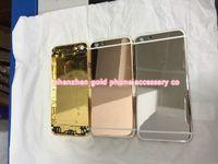 iphone 4s altın kılıf toptan satış-24 K Altın Kaplama Geri Konut Kapak Kasa Cilt Pil Kapı iphone 6G 6 artı 5 S 4 S 5 4 Lüks Sınırlı Sayıda 24Kt Çerçeve Çerçeve Faceplate