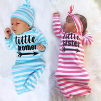 Wholesale Newborn Baby Envelopes - baby striped sleeping bag 2pc set twisted hat headband+sleeping bag 65cm little sister little brother letters print newborns sleeping bag