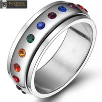 Wholesale Stainless Steel Spinner Band - TOP- Fashion Rotating Spinner Ring For Women Stainless Steel Ring With Rainbow Crystal Multicolor Rhinestone