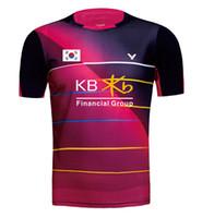 camisas de badminton mulheres venda por atacado-Novo Victor Coréia Badminton camisa dos homens com bandeira KB, Tshirt das mulheres, Badminton Jerseys, Badminton desgaste 36160