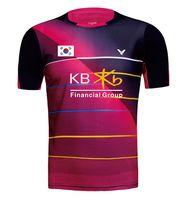 camisa de bádminton mujer al por mayor-Nueva camiseta de bádminton Victor Korea para hombre con bandera KB, camiseta de mujer, camisetas de bádminton, ropa de bádminton 36160