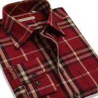 Wholesale Check Shirt Fashion Men - Wholesale-2016 Luxury Brand Long Sleeve Men Plaid Shirt Plus Size Red Check Casual Shirt for Men Loose Fit Fashion Social Male Shirt