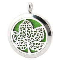 Wholesale Wholesale Maple Leaf Necklaces - Tree Maple Leaf Aromatherapy Essential Oil surgical Stainless Steel Perfume Diffuser Locket Necklace with chain and pads
