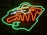 Wholesale Hockey Neon Light - Brand New MINNESOTA WILD HOCKEY Real Glass Neon Sign Beer light