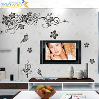 Wholesale Vine Wall Vinyl - classical black flower vine tv background wall decals zooyoo027S decorative adesivo de parede diy removable pvc wall stickers