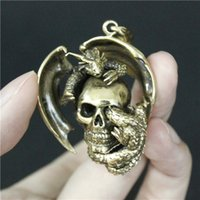 Wholesale Dragon Dog Tags - New Style Mens Cool Golden Flying Dragon Pendant 100% Good Quality Real MC Biker Mens Pendant