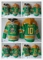 Wholesale Paul Hoodies - Anaheim Ducks Hockey Men Jerseys 8 Teemu Selanne 9 paul kariya 10 corey perry 15 Ryan Getzlaf Hockey Hoodie Hooded Sweatshirt Jackets Jersey