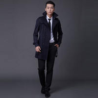 Wholesale Top Coat Double Breasted - Customize Top Quality British Slim double breasted mens long trench coat Europe trenchcoat jacket male coat trench free shipping