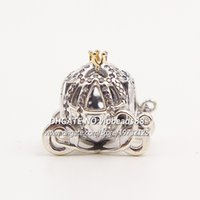 Wholesale Coin Cart - S925 Silver Cinderella's Pumpkin Cart with Clear CZ And Real 14K Gold Charm Bead Fit European Pandora Charm Bracelets & Necklaces DS038