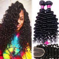 Wholesale Malaysian Curly Lace Closure Piece - Malaysian Virgin Hair Deep Curly Wave Human Hair 3 Bundle With Lace Closure Brazilian Peruvian Malaysian Indian Deep Wave Virgin Human Hair
