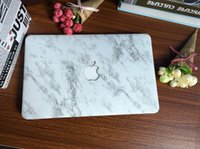 "Wholesale Marble Solids - White Marble Pattern Hard Case + Keyboard Cover for Apple Macbook Pro   Air   Retina 12 13 15"" Air 11 13""inch Sleeve"