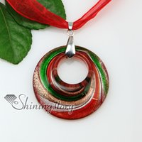 Wholesale Colored Stainless Steel Pendants - ecklace magnet round glitter swirled pattern lampwork murano Italian venetian handmade glass necklaces pendants colored cheap fashion je...