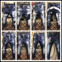 Wholesale Old Jeans - Hole Motorcycle Skinny Jeans Men Europe and America DSQ2 Old Street Washing DSQ Slim Patch Tattered Ripped Jeans Homme Locomotive Pants D2