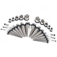 Wholesale Taper Tunnels - 32Pcs Stainless Steel Acrylic 14G-00G Tapers & Plugs Ear Gauges Expander Stretching Kit