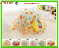 ingrosso vecchio lavorato a maglia-Bee Design Colorfull Crochet Hat For Girls Summer Lace Dot Paglia Sun Hat Outdoor 3-8years Old 6 colori per scegliere HMZ010