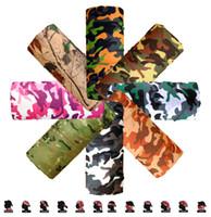 Wholesale Headscarf Camouflage - Wholesale-Camo Paisley Bandana Army Headband Camouflage Outdoor Sport Bandana Bicycle Cycling Bandana Scarf Face Mask Headscarf 25*48cm