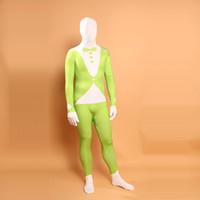 superheld-kostümmuster groihandel-Superheld Green Arrow Cosplay Lycra-Kostüm-Halloween-grüne und weiße Anzug Muster Spandex Zentai Bodysuit