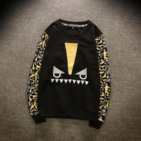 Wholesale Eye Print Sweatshirt - Autumn Brand novelty Monster devil's Eye Men Hoodies Fashion Print Long Sleeve Men Clothing Hip Hop Sweatshirts