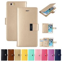 Wholesale Diary Covers - Rich Diary Wallet PU Leather Case TPU Cover For iPhone X 8 7 6 6 6S 5 SE Samsung S9 Plus S8 S7 S6 Edge Note Note8 J5 J7 2016 A5 2017