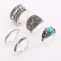 Wholesale Gothic Joint Ring - 5pcs set Retro Silver Ring For Women Hot selling Gothic Elephant Ancient silver Turquoise Joint Ring Jewelry Set New Fashion Wholesale NICE