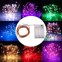 Wholesale Green White Wedding Decor - String Fairy Light 20 30 50 LED Battery Operated Copper Wire Xmas Lights Party Wedding Decor