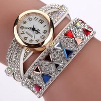 Wholesale Cheap Chronograph Watches Women - Fashion Watch Women Popular Rhinestone Luxury Bracelet Wristwatch Women Lady Female Dress Cheap Electronic Quartz Watch
