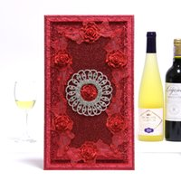 Wholesale Signature Books - Luxury Wedding Guest Book with Rhinestone Wedding Favors Wedding Supply Signature Book--Red