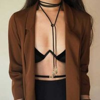 Gold LEAF Black Long Necklace For Women Simple Gothic Punk Velvet Rope Chain Chokers Fashion Summer Costume Accessories