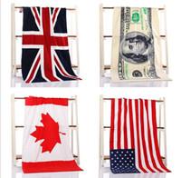 serviettes usa achat en gros de-2016 4 couleur 70 * 140CM USA ROYAUME-UNI drapeau EUROS Unisex coton rayé imprimé beah serviettes de bain serviette de douche Douche Gym Fitness Camping Serviette