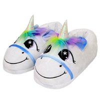 Wholesale Rainbows Flip Flops - Plush Rainbow Unicorn Slippers Adult Indoor Furry Fur Cute Winter Warm Flip Flop Shoes Soft Cosplay Slipper 2pcs pair OOA3149