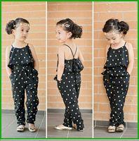 Wholesale Kids Leopard Belt - 2016 newest fashion hot selling girls casual lumpsuits children dot slim belt cute kid clothing outfit sets