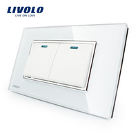 Hersteller Livolo Luxury White Crystal Glasscheibe, zwei Gangs, 2-Wege-Taster Home Wall Switch, VL-C3K2S-81