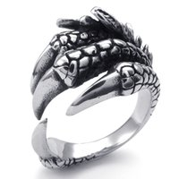 Wholesale Sterling Dragon Ring - 072551-wholesale jewelry lots bulk Men's Stainless Steel Ring, Gothic Dragon Claw jewelry, Width: 19mm US Size: 7-13