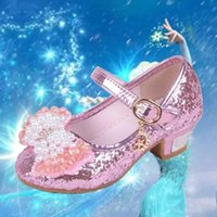 Wholesale Glitter Latin Dance Shoes - Fashion Princess Shoes Latin Dance Shoes Shinning Leather Pearl Diamand Bowknot Low Heel Hook & loop Crystal Shoes Anti-slip Breathable