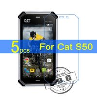 Wholesale Cat Protectors - Wholesale-5pcs gloss Ultra Clear LCD Screen Protector Film Cover For Cat S50 Protective Film + cloth