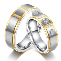 Wholesale Side Steps - 5 pairs per Lot Gold Couples 316 Stainless Steel Rings Brush Top Step Sides CR-036