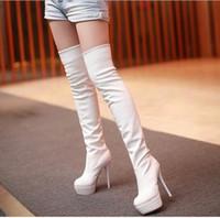 ingrosso stivali alti della coscia coreana-Le donne coreane di vendite CALDE 2017 inizializzano gli stivali alti del ginocchio Le donne sexy della signora incidono le alte scarpe degli stivali di autunno