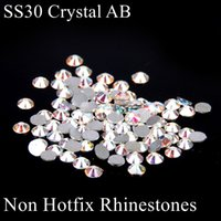 Wholesale Hotfix Strass - SS30 White Crystal AB Non Hotfix Loose Crystal Rhinestones Flatback Glue On Strass Chatons Appliques For Wedding Dress Supplies