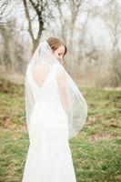 Wholesale White Embroidered Flower Appliques - Amazing For Wedding Dresses Fashion Designer White Ivory Fingertipe Cut Edge Veil Mantilla veil Bridal Head Pieces