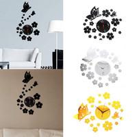 arte de parede de vinil de borboleta venda por atacado-3 Cor Moderna Muito Relógio Espelho Quarto de Parede Borboleta Decal Decor Art Vinyl Sticker DIY