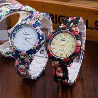 ginebra relojes florales al por mayor-Moda floral flor GENEVA Reloj GARDEN BEAUTY PULSERA RELOJ Reloj de pulsera de lujo Reloj de cuarzo de lujo Relogio Feminino 1150